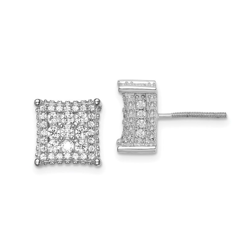 Quality Gold Sterling Silver Rhodium-plated CZ Square Post Earrings