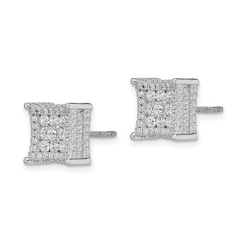 Sterling Silver Rhodium-plated CZ Square Post Earrings