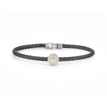 Steel Grey Cable Essential Stackable Bracelet with Single Large Round Diamond station set in 18kt Yellow Gold
