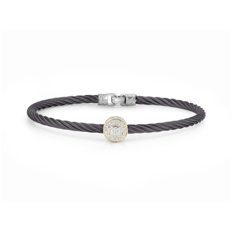 ALOR Steel Grey Cable Essential Stackable Bracelet with Single Large Round Diamond station set in 18kt Yellow Gold