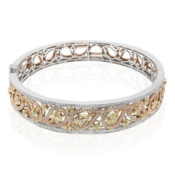 Tri-Colored Paisley Diamond Bangle