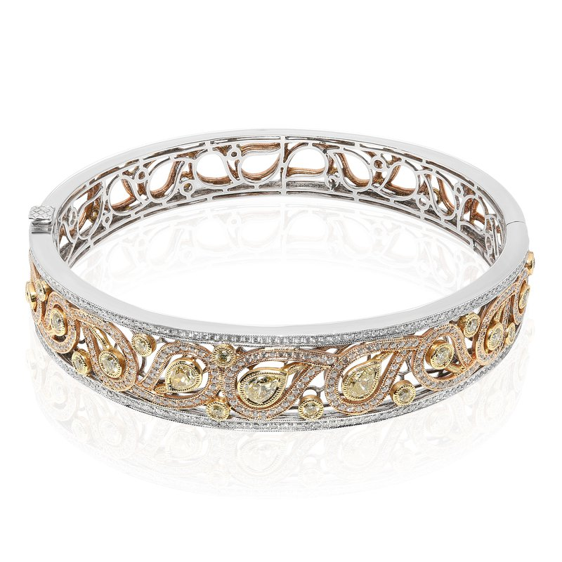Roman & Jules Tri-Colored Paisley Diamond Bangle