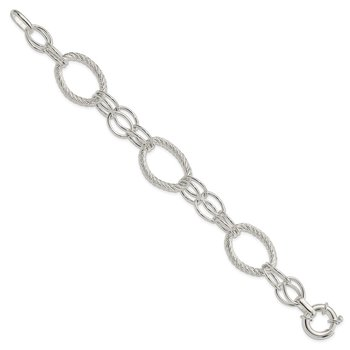 Sterling Silver Polished And Diamond Cut Link Bracelet