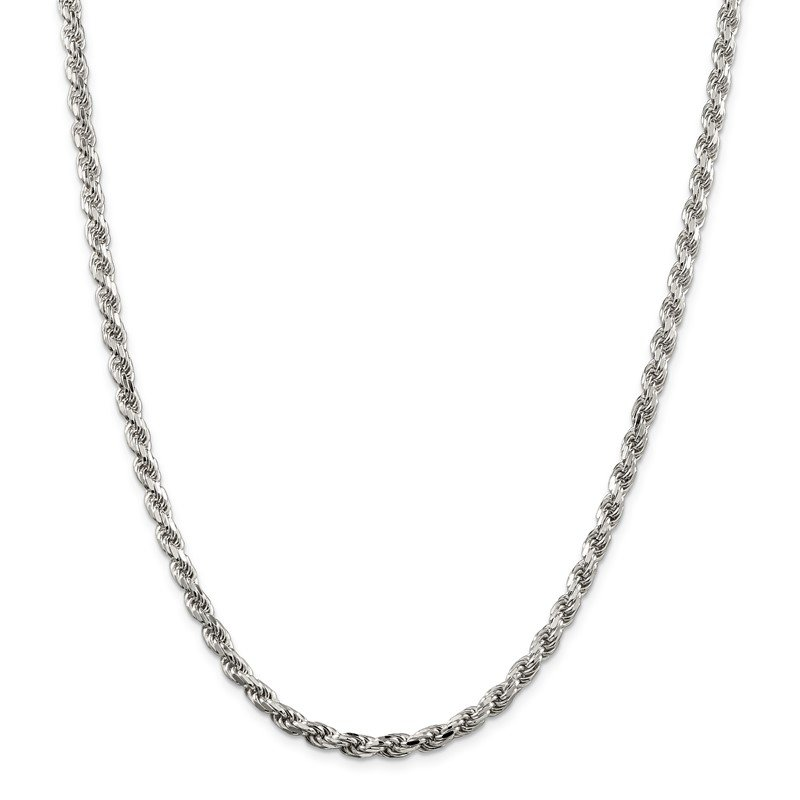 Quality Gold Sterling Silver 4.75mm Diamond-cut Rope Chain