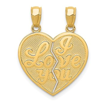 14k I LOVE YOU Heart Break-apart Reversible Pendant
