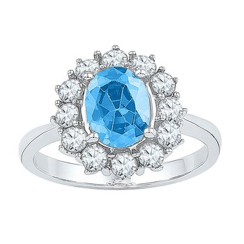 Sterling Silver Womens Oval Lab-Created Blue Topaz Solitaire Ring 3-1/5 Cttw