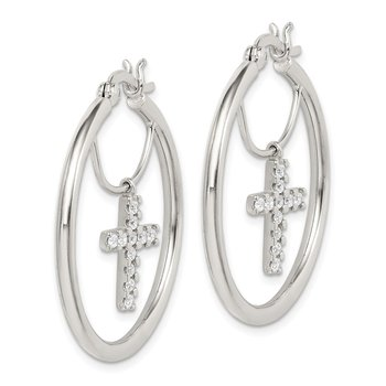 Sterling Silver CZ Cross Hoop Earrings