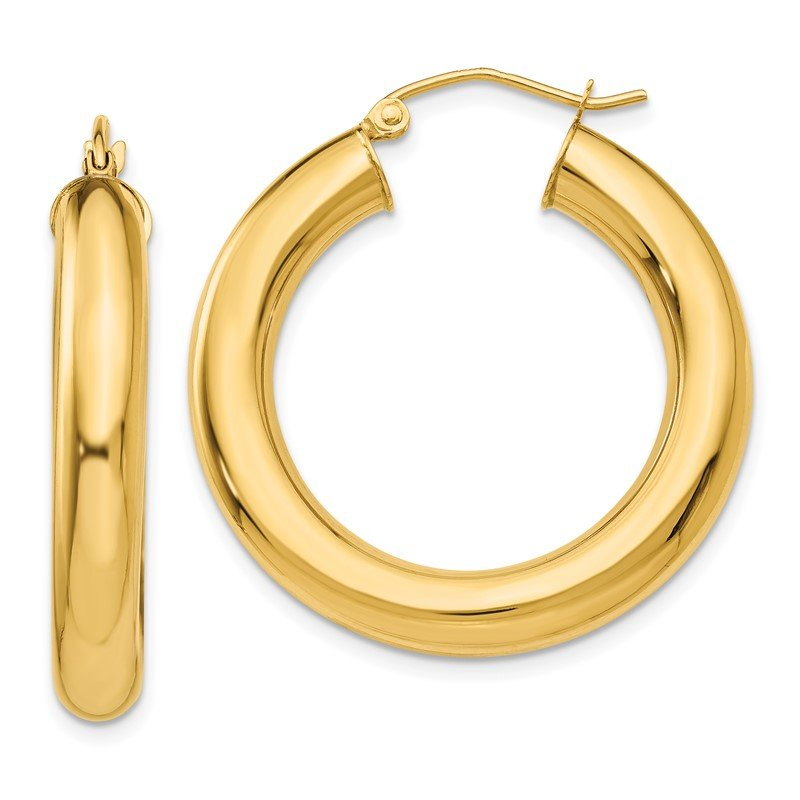 Quality Gold 14k Polished 5mm Tube Hoop Earrings