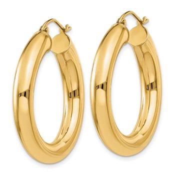 14k Polished 5mm Tube Hoop Earrings