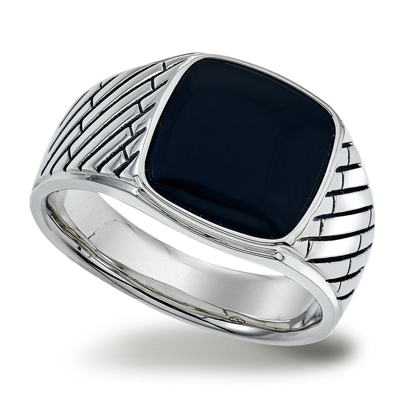 SDC Creations Men's Onyx Herringbone Silver Ring