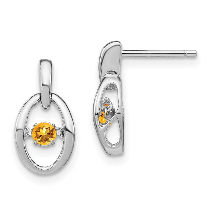 Quality Gold Sterling Silver Rhodium Citrine Birthstone Vibrant Earrings