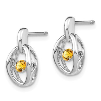 Sterling Silver Rhodium Citrine Birthstone Vibrant Earrings