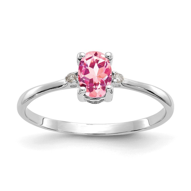 Quality Gold 10k White Gold Polished Geniune Dia/Pink Tourmaline Birthstone Ring