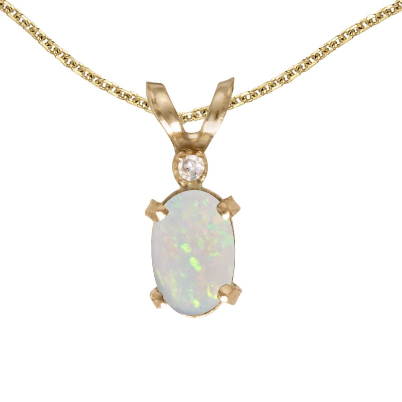 Color Merchants 14k Yellow Gold Oval Opal And Diamond Filagree Pendant