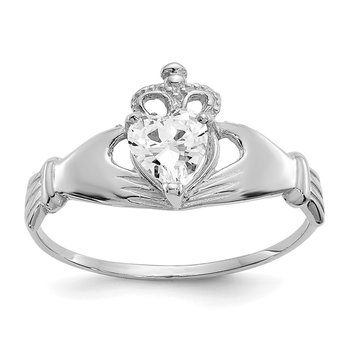 14k White Gold CZ April Birthstone Claddagh Heart Ring