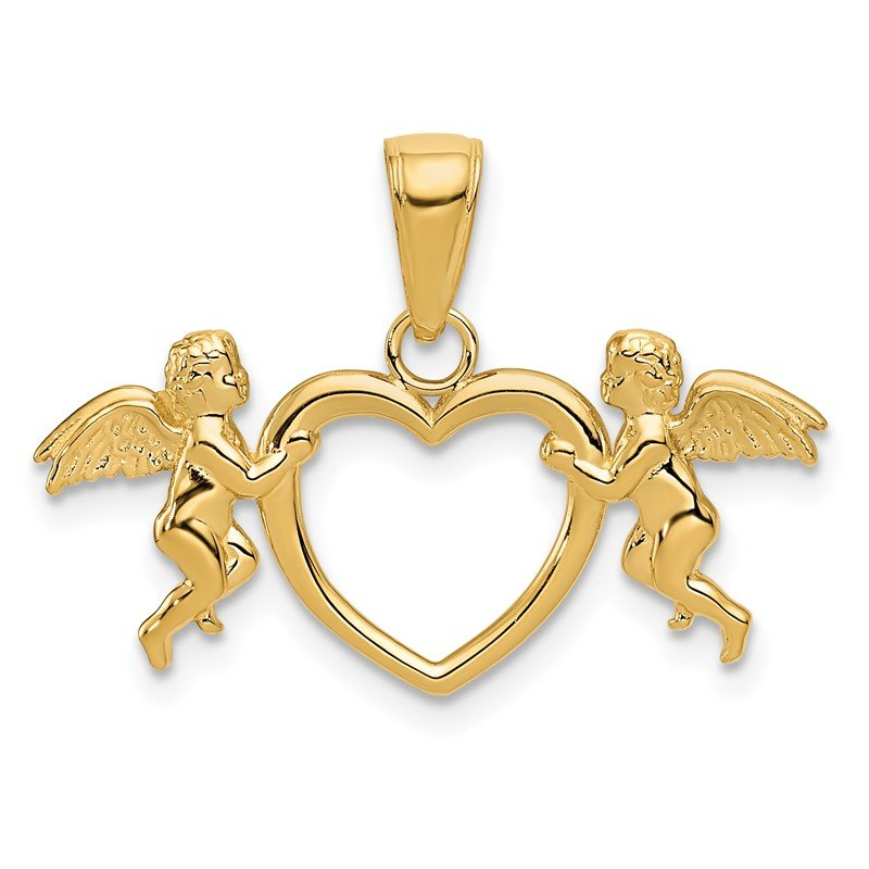 Quality Gold 14k Flying Cherubs Holding Heart Pendant