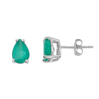 14k White Gold Pear Shaped Emerald Earrings