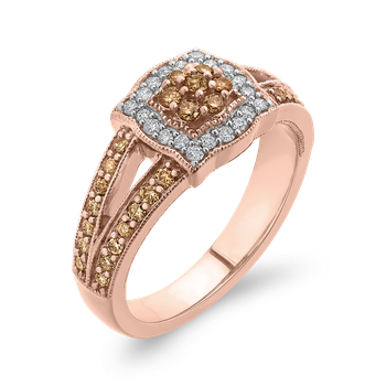 10K Rose Gold 5/8 Ct Brown and White Diamond Fashion Ring
