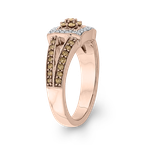 Essentials 10K Rose Gold 5/8 Ct Brown and White Diamond Fashion Ring