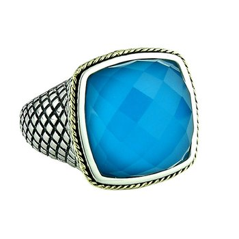 18kt and Sterling Silver Cushion Doublet Turquoise Ring