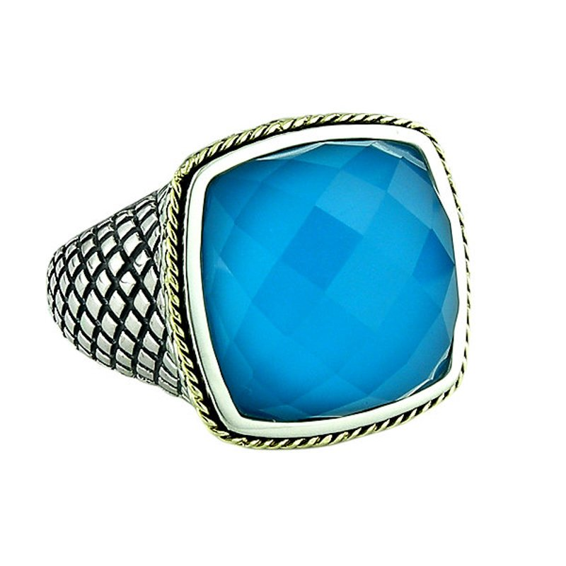 Andrea Candela 18kt and Sterling Silver Cushion Doublet Turquoise Ring