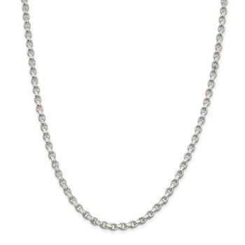 Sterling Silver 4mm Diamond-cut Rolo Chain