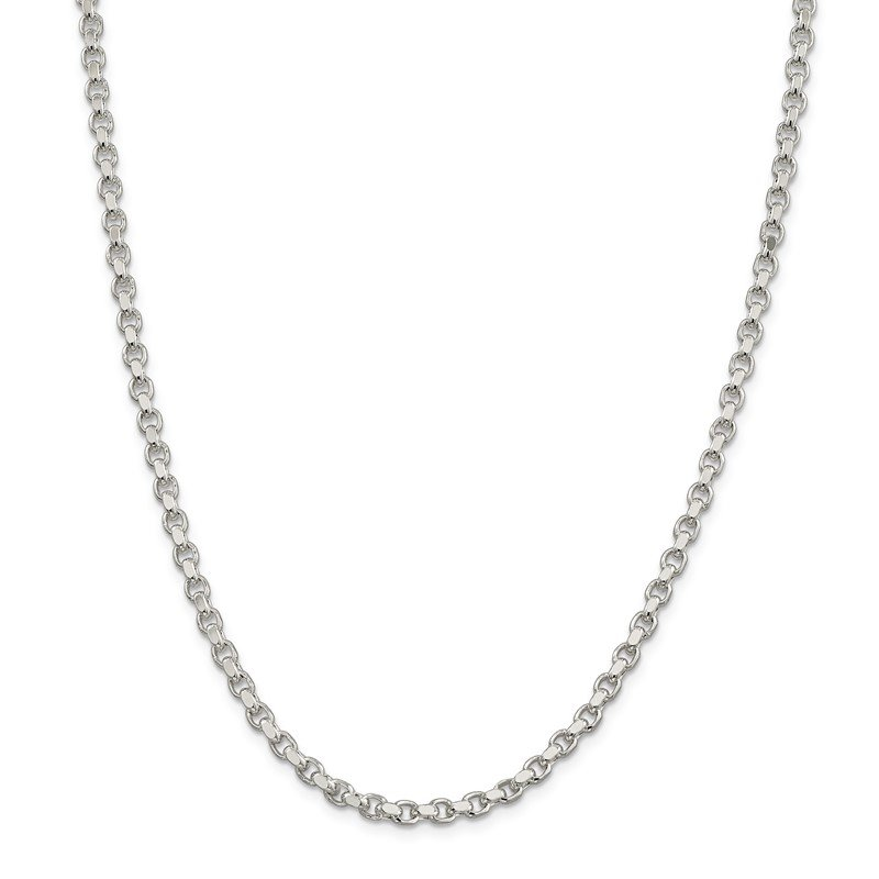Quality Gold Sterling Silver 4mm Diamond-cut Rolo Chain