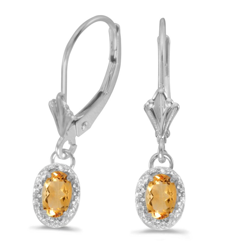 Color Merchants 14k White Gold Oval Citrine And Diamond Leverback Earrings
