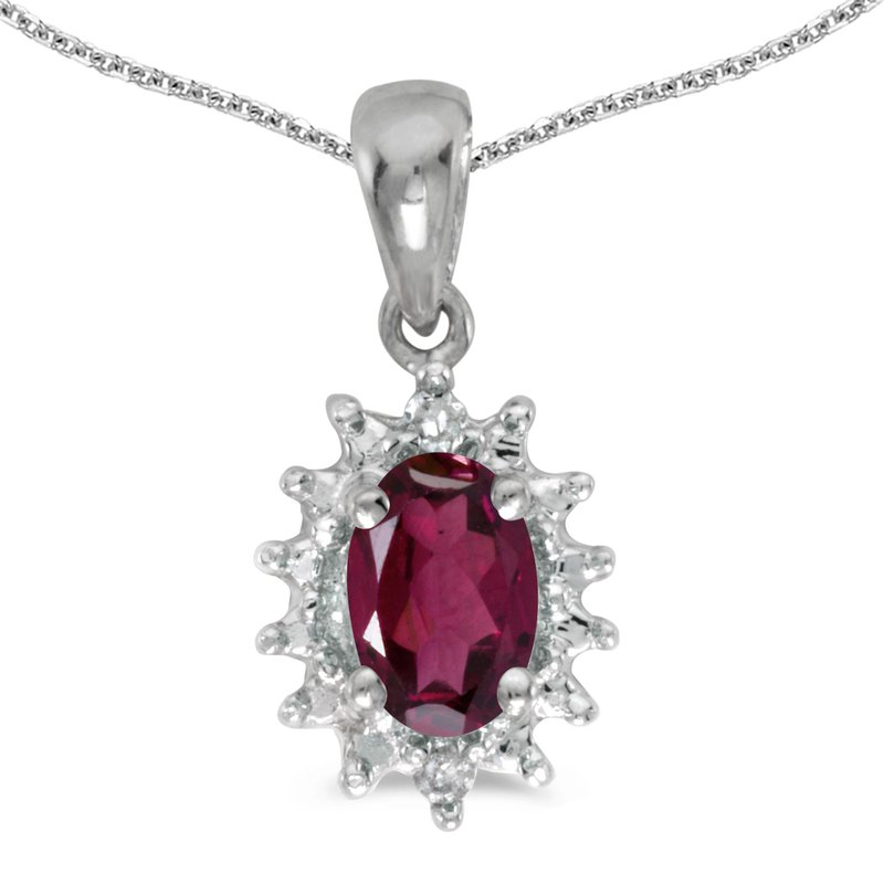 Color Merchants 10k White Gold Oval Rhodolite Garnet And Diamond Pendant