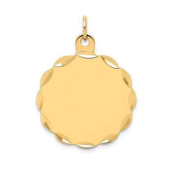 14k .035 Gauge Engravable Scalloped Disc Charm
