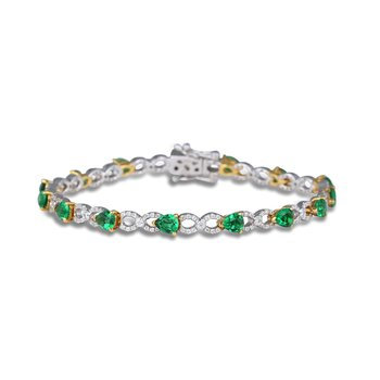 Emerald and Diamond Pear shape Bracelets