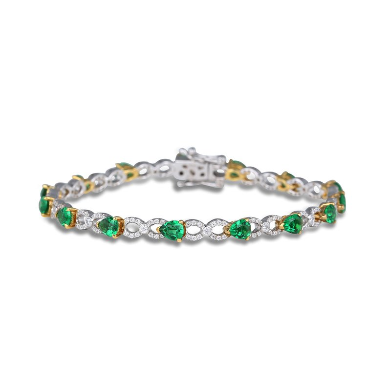 Fana Emerald and Diamond Pear shape Bracelets