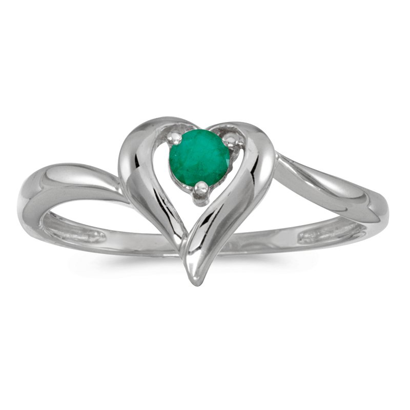 Color Merchants 10k White Gold Round Emerald Heart Ring