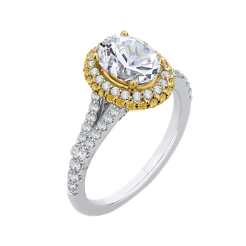 18K Tow-Tone Gold Oval Diamond Halo Engagement Ring with Split Shank (Semi-Mount)
