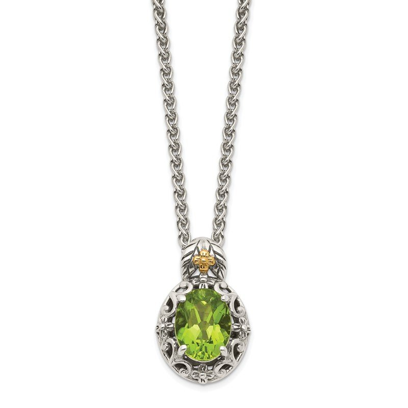 Quality Gold Sterling Silver w/ 14K Accent Peridot Necklace