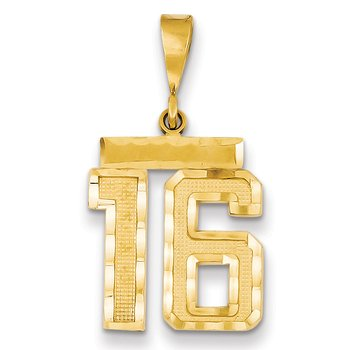 14k Medium Diamond-cut Number 16 Charm