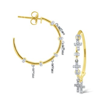14k Gold and Diamond Cross Charm Hoops