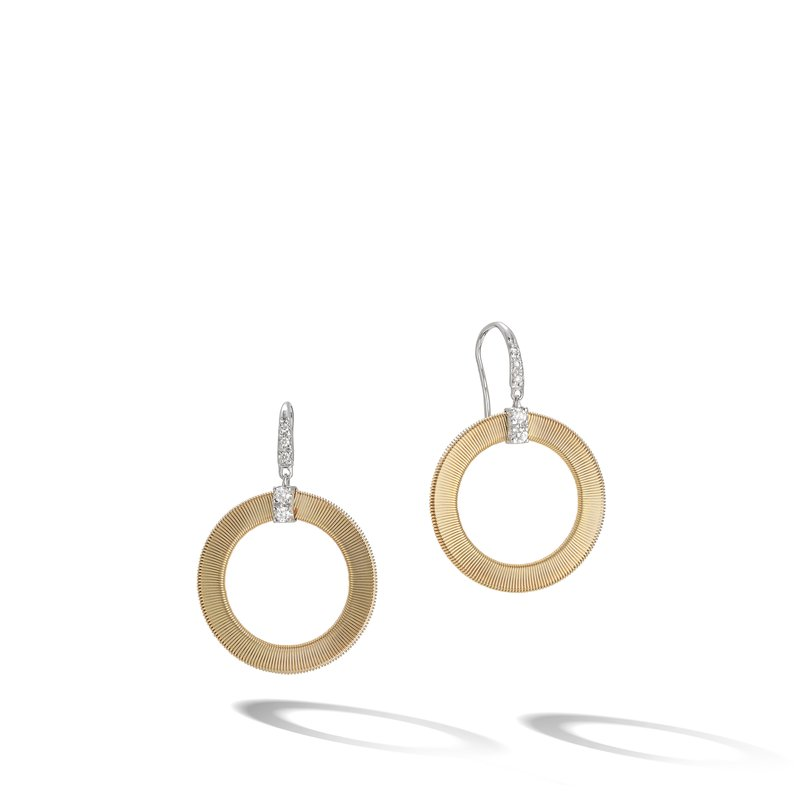 Marco Bicego Masai Yellow Gold and Diamond Circle Drop Earrings