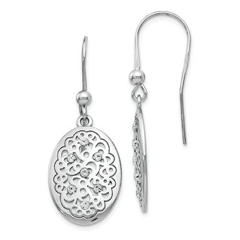 Leslie's Sterling Silver Polished Preciosa Crystal Earrings