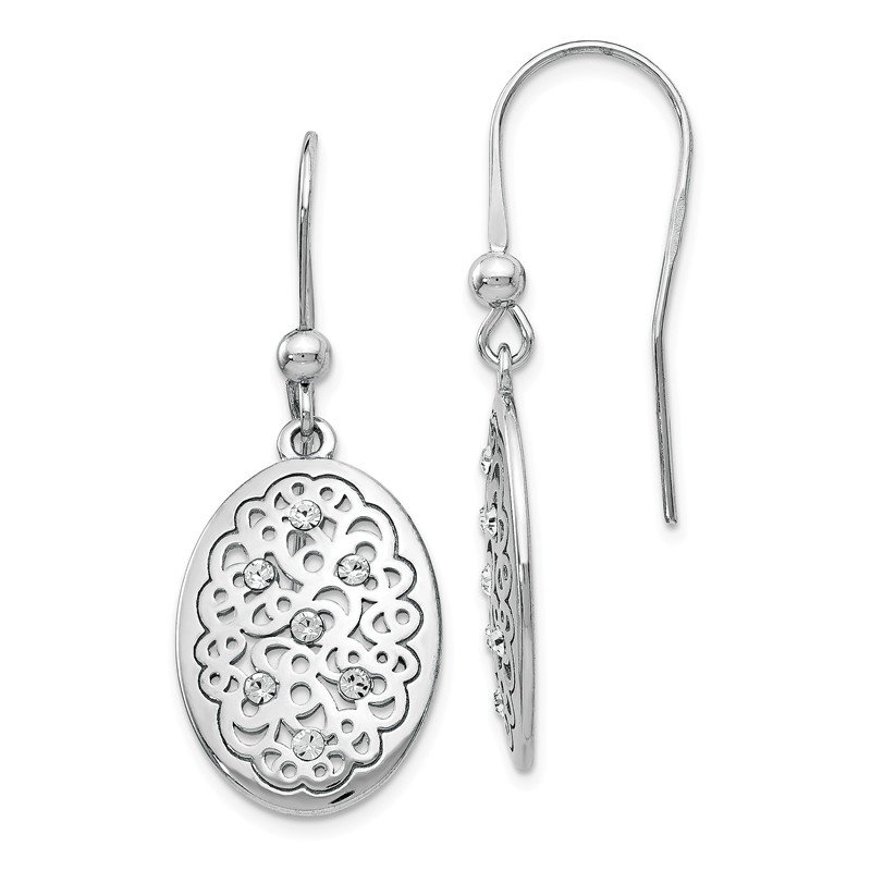Leslie's Leslie's Sterling Silver Polished Preciosa Crystal Earrings