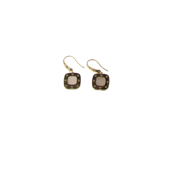 18KT GOLD DANGLE EARRINGS WITH MOTHER OF PEARL