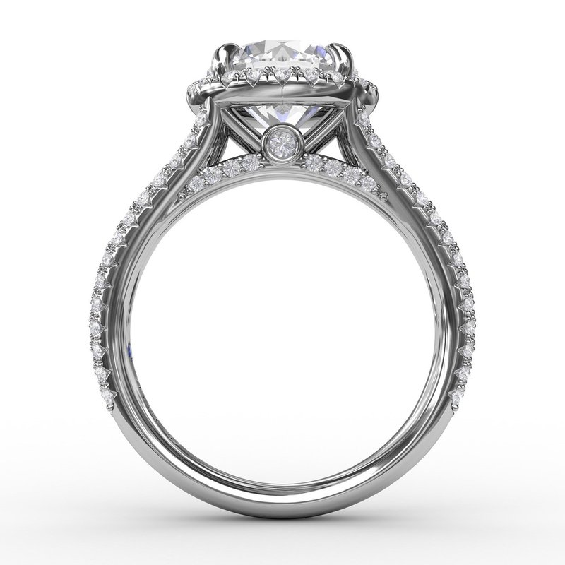 Fana Round Diamond Halo Engagement Ring With Triple-Row Diamond Band