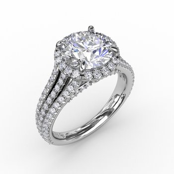 Round Diamond Halo Engagement Ring With Triple-Row Diamond Band