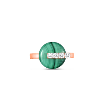 18Kt Gold Disc Ring With Diamonds And Malachite