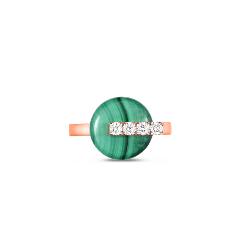 Roberto Coin 18Kt Gold Disc Ring With Diamonds And Malachite