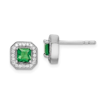 Sterling Silver Rhodium-Plated Green and Clear CZ Post Earrings