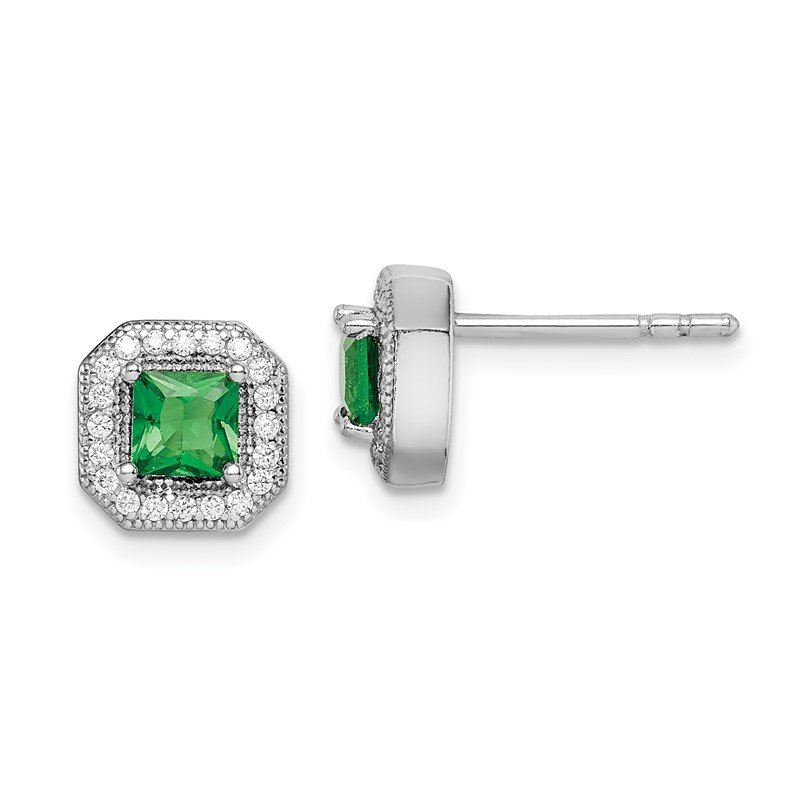 Quality Gold Sterling Silver Rhodium-Plated Green and Clear CZ Post Earrings