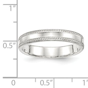 Sterling Silver 4mm Design Edge Band