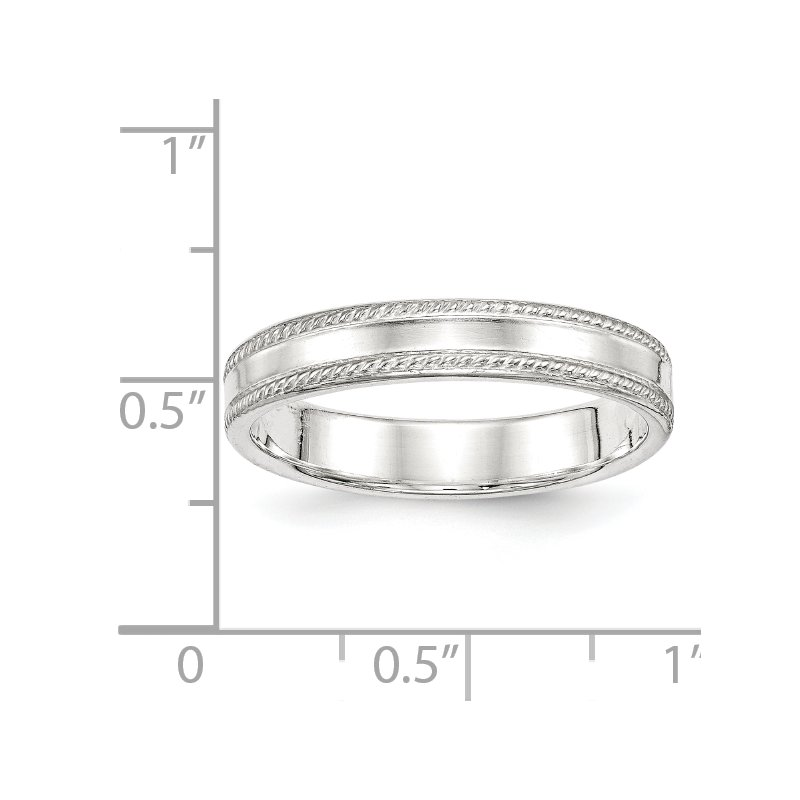 Quality Gold Sterling Silver 4mm Design Edge Band