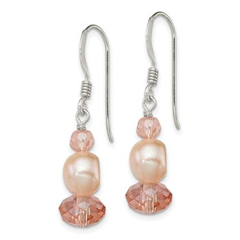 Sterling Silver Peach Crystal/FW Cultured Pearl Earrings